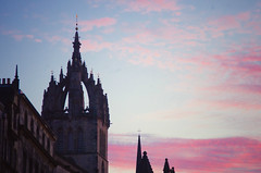 Towers and clouds (elizunseelie) Tags: sunset sky clouds edinburgh scotland scottish rooftops roof cloudy pink red scarlet evening night tranquil colourful colorful vibrant silhouette architecture old town historic historical