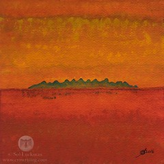 Little Needles (original painting) (CrowRising) Tags: needles desert tufas hoodoos rocks rockformations mountains hills desertmountains peaks mojave california colorado arizona landscape desertlandscape southwesternart southwestlandscape expressionism abstractrealism orange yellow contemporary homedecor interiordesign officeart bookcover waitingroomart solluckman onebrushtechnique penandink ink inkonpaper paintingwithink paintingonpaper watercolor nature horizon vibrant colorist bold