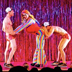 IMG_7197 (danimaniacs) Tags: theater show musical lacageauxfolles hoy shirtless dancer dance speedo bathingsuit trunks red hunk male drag dragqueen stripes costume performance stage bulge
