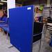 Blue fabric floor standing screen