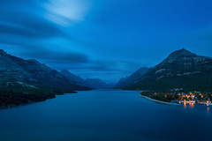 Upper Waterton Lake, Alberta Canada  (Explore - Best Position #6 - August 23, 2016) (Brian Krouskie) Tags: blue hour waterton national park sunset lake harbour marina mountain longexposure clouds water princeofwaleshotel explore