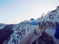 Santorini sunset, Greece ([The World Through My Eyes]) Tags: greece santorini fira thira oia grcia sunset ocean church bluedome olympusomdem1 olympus omd 12mm sun autofocus
