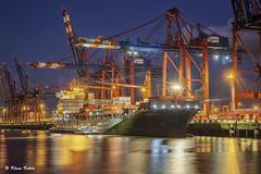 Terminal Eurogate - 18081601 (Klaus Kehrls) Tags: hamburg hamburgerhafen elbe hafen schiffe krne container industrie nachtaufnahme