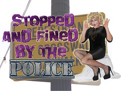 My latest video (queen.catch) Tags: catchqueenyoutube busted police fined jaywalker crossdresser femme sissy heels fishnets shiny shorts