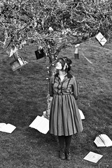 B&W (Samara May Knight) Tags: bw woman white black tree girl beautiful beauty fairytale standing interesting thought dress books odd story string hanging fairylights quirky pondering storyteller