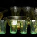 6019. Group of Amber and Green Depression Glass