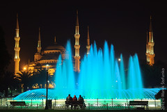 Night in Istanbul (Marek Stefunko) Tags: park city travel blue people building tourism monument water fountain architecture night turkey bench square landscape asian religious temple ancient asia view nightscape minaret muslim islam famous religion culture landmark center istanbul mosque architectural historic arabic glowing ottoman oriental orient bluemosque eastern turkish islamic sultanahmet constantinople sultanahmedmosque