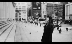 The Wait (ginaballerina.) Tags: nyc blackandwhite manhattan kristina postoffice 8thave cinematic thewait 365project ginaballerina ginavasquez
