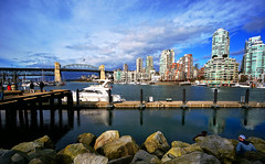 Vancouver Skyline From Granville Island (TOTORORO.RORO) Tags: travel light canada reflection tourism colors skyline vancouver marina lens relax living colorful bc angle zoom britishcolumbia sony wide restaurants wideangle social tourist falsecreek shops granvilleisland alpha popular visitor peninsula f4 hdr attractions activities publicmarket burrardbridge oss nex greatervancouver mirrorless 1018mm nex6 sel1