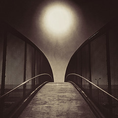 pedestrian bridge. santa monica, ca. 2013. (eyetwist) Tags: ocean california santa bridge bw brown sun white black postprocessed texture beach apple monochrome mobile sepia square concrete la solar blackwhite losangeles los kevin phone graphic pacific mesh angeles santamonica grain lofi orb pedestrian tint symmetry pch pacificocean socal filter monica walkway processing symmetrical grille railing technique processed camerabag westla 4s apps lores iphone workflow pacificcoasthighway postprocessing angeleno altphoto eyetwist mobilephotography fecing iphonography eyetwistkevinballuff iphoneography balluff picfx photoforge2 picfxroundup