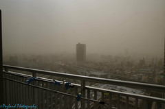 2013 Chinese Smog Storm (In Tokyo) (Pozland) Tags: china storm japan skyline tokyo smog cityscape wind sandy cancer windy gritty pollution gross dust winds idiots unhealthy windstorm smogstorm
