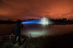 Orange Sky - TK75 (Jelle Schuurmans) Tags: trees winter light orange lake feet water netherlands night clouds long exposure beam torch fenix flashlight treeline 130 meters 426 lightpollution boxtel tk75