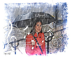 Singing In The Rain (Peter Solano. Pursuing a dream!) Tags: blue red white black girl rain umbrella happy drops rail coloredpencil musicalnotes pencilpixelsscripts pencilpixelsimageeffects singingmwater