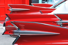 82/365_Cady fins (red stilletto) Tags: red usa classic america cadillac chrome american 365 fin fins aphotoaday project365 365days redcadillac cadillacfins