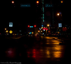 After Midnight (Tom Frundle Photography) Tags: street nightphotography reflection colors night lights shadows nashville tennessee stop rainy nightscene refelctions downtownnashville 2013 tomfrundlephotography