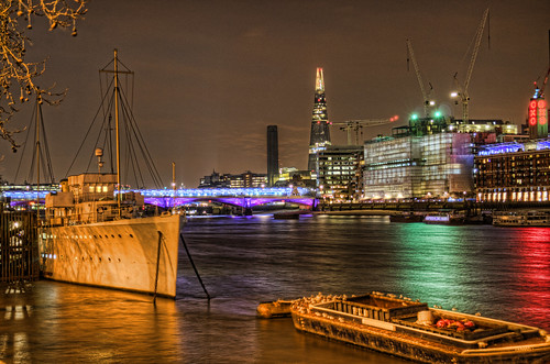 Boat, The Shard and the Oxo tower