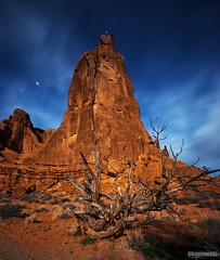 Sauron (Brian Koprowski) Tags: b light mountain rock night utah bush long exposure unitedstates pentax arches sediment astrophotography redrocks lordoftherings archesnationalpark monolith foreground sauron sigma10mm koprowski briankoprowski bk|photograffi