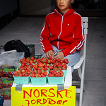 Summer strawberries on sale in Norway