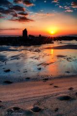Colourful Sunset (RTA Photography) Tags: blue sunset sea orange beach reflections sand colourful southhams southdevon thurlestone gradfilter nikon1855mm nikond5000 mygearandme mygearandmepremium viveza20 mygearandmebronze mygearandmesilver