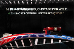 The Most Powerful Letter (frischauge) Tags: bmw m car letter power powerful canon 550d tamron wsobject police roof window reflection antenna red blue light world ast fast race track safety ef efs geometry geometric shape line lines curve parallel rectangle pattern color colorful abstract surreal minimal detail available low noflash abstrakt geometrie geometrisch