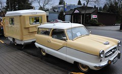 1957  Metropolitan Station Wagon and trailer (D70) Tags: show canada station st wagon hall community day bc fort 1957 british annual trailer caravan georges langley metropolitan 8th motoring portafold