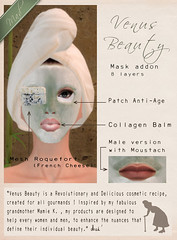 Mad' - VB - Roquefort Mask (La Bouchre) Tags: food male green beauty cheese female ads advertising poster salad yummy pub natural mesh release ad creative cream bio creme moustache lettuce creation secondlife steak eggs mustard patch mad care publicity unisex roquefort soin cosmetic gourmand mustach addon laboucherie antiage venusbeauty collagenbalm