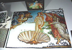 'Birth of Venus' by Botticelli, Clementoni puzzle, 4000 pieces. (Piecefull) Tags: botticelli birthofvenus clementonipuzzle 4000piecepuzzle puzzleprogress