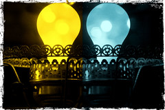 The Color Of Light (sarahellenspringer) Tags: blue yellow light lightbulb processing treatment