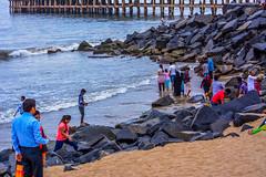 People enjoying at Rock Beach (wandercrumbs) Tags: evening rock beach people enjoying water pondicherry puducherry
