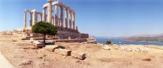 Temple of Poseidon (Myahcat) Tags: 35mm lomo 400iso film horizonperfekt panoramic panorama greece summer analogue sounion temple greektemple poseidon