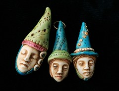 wizard hats (SelenaAnne) Tags: polymerclay polyclay cernit sculpey fimo bead pendant face handmade