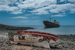 Run aground - colour (mikeboss) Tags: telamon shipwreck fuji coast ships boats wreck aground