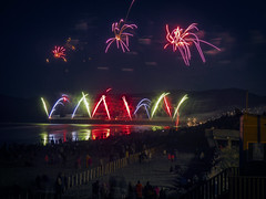 VMWV (Steve Taylor (Photography)) Tags: floor steps fun sand water people newzealand nz southisland canterbury christchurch newbrighton beach ocean pacific pier sea reflection vignette spring sky night november 5 5th 2015 crowd watching bonfire rocket firework