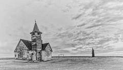 St. Olaf Lutheran Church (Jack Lefor) Tags: old church nikon landscape scenic northdakota blackandwhite nikond810 fineart monochrome panorama panoramic clouds