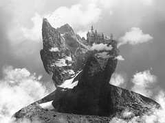 Castle In My Head (unDaily Power) Tags: ottawa ontario canada unsplash photoshop photomanipulation castle fantasy sky bw blackandwhite silhouette mountains mountain clouds fantastical dream selfportrait conceptual conceptualphotography conceptualportraitphotography portrait self me myself i muruthithuita haitaozeng