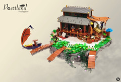 Poertland Trading Post (Gabe Umland) Tags: lego steampunk floatingrock gabe umland boat airship house trading post bfva