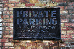 The Beauty Of Pretty (DetroitDerek Photography ( ALL RIGHTS RESERVED )) Tags: allrightsreserved toledo ohio weather faded rusty crusty sign private parking customers red brick aged midwest usa america hdr 3exp canon 5d mkii digital eos history detroitderek past bigolnastygetdown pretty beauty august 2016 wall