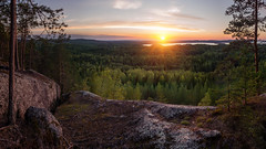 Sunset View (laurilehtophotography) Tags: late summer sunset hyyppnvuori hyypp laukaa forest water lake trees cliff stones warm colors sun clouds panorama view nature landscape naturephotography nikon d3100 nikkor 1755mm f28g nikonphotography laurilehtophotography luonto mets vuori keskisuomi suomi finland auringonlasku lievestuore good times