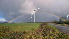 rainbow 085 (M0JRA) Tags: weather clouds sky sun rain rainbows wind turbine roads trees fields