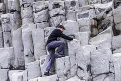 Climbing the basalt columns (agustago) Tags: 2016 agusta agustagudrun agustagudrunolafsdottir agustaphotocom candid extremeiceland iceland icelandnatur ilovemycountry inspiredbyiceland markii southiceland agustago agustagudrunphotography blackbeach canon hike hiking landskape nature sea sky traveliceland travel traveling basalt stulaberg rock blackpebble stonework architecture outdoor rockformation gardar climbing basaltcolums klettaklifur