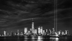 9/11 Memorial Lights - 2016 (mkc609) Tags: 911 911memorial bw flickr freedomtower manhattan night w blackandwhite blackwhite urban nyc newyork newyorkcity