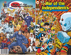 THE WAR OF THE INDEPENDENTS FRONT AND BACK COVERS NUMBER 3 WITH THE TICK (vsndesigns) Tags: beta the tick vs arthur sentinel prime optimus successor townsend coleman lego minifig minifigure dcon 2014 ball mylar balloon buttons bonanza pencil indie shocker gbjr toys with tie and tshirt zombie in a steel box fox promotional totally kids magazine 45 club spoon taco bell meal commercial eli stone ben edlund little wooden boy comic book merchandise rare limited edition 80s 90s collector museum naked super hero heroine collection photo screen