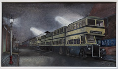 Waiting for the fans. (geoff7918) Tags: standrews leyland bus night watercolour