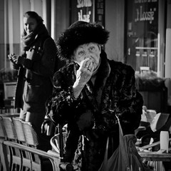 The old lady (Iam sterdam.) Tags: woman cold holland amsterdam furcoat oldwoman nieuwmarkt flu womaninamsterdam nieuwmarkt2013050zw