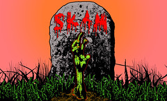 Back from the Grave. (SKAM sticker) Tags: streetart against illustration oregon photoshop portland design sketch blood stickerart poem grain brains gravestone undead pdx illustrator zombies wacom demons creaturesofthenight gradients fromhell livingdead cs3 ghouls skam zombiehand fullcolor photostock colorconcept backformore backfromthegrave gettingbacktowhoiam tablet2013