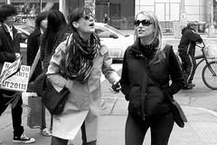 oh no (omoo) Tags: york city girls people bw streets construction traffic crowd sidewalk billboards streetcorner girlfriends ohno bwphotograph prettygirlssohomanhattannew easthoustonandcrosby bicycledeliverman