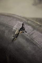 Detail of a damaged tyre (realmcflier) Tags: plane airplane aircraft damaged avión tyre iberia lamuñoza