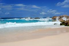 DSC_3435b La Digue, Seychelles: Anse Marron (wanderlust  traveler) Tags: ocean africa blue sea panorama nature landscape island rocks paradise palmtree tropical seychelles ladigue torquoise