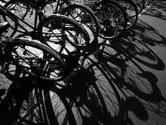 bicycles (SOVA5) Tags: shadow blackandwhite monochrome bicycle ricoh grd grd2 grdigital2 kyotoprefecturallibrary gettyimagesjapan13q1