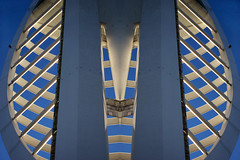 On Reflection - rewoT rekannipS (fstop186) Tags: camera city shadow abstract reflection tower art lines metal architecture canon mirror industrial graphic image artistic designer steel space curves creative surreal optical landmark symmetry powershot quay illusion age commercial solent scifi portsmouth spinnakertower symmetrical metropolis spinnaker custom scape impression futuristic compact southsea gunwharf s95 creativephotocafe